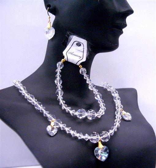 Wedding Bridal Jewelry Clear Swarovski Crystals Necklaces Bracelet Set