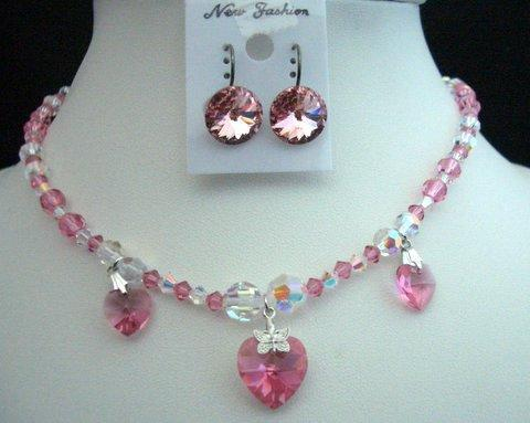 Wedding Jewellery Swarovski Pink & AB Crystals Heart Pendant Necklace
