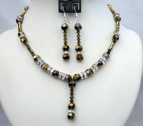 Primary image for Expresso Dorado Crystals Wedding Party Bridal Handcrafted Necklace Set