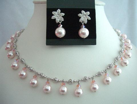 Rose Pink Pearls & Crystals Choker Swarovski Wedding Party Necklace Se