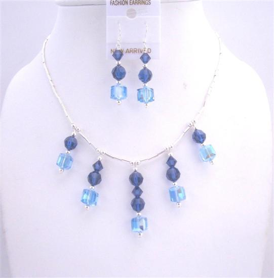 Aquamarine Swarovski Metallic Blue Crystal Silver Pipe Wedding Jewelry