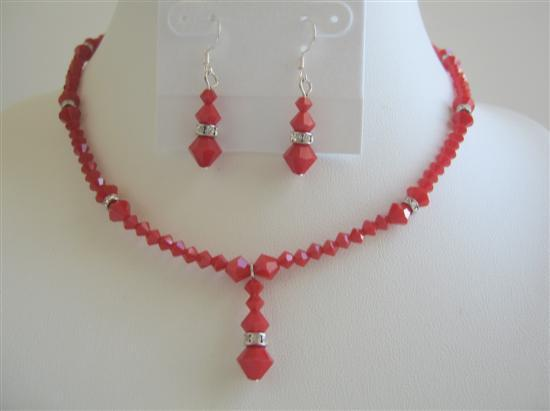 Primary image for Deep Red Coral Swarovski Crystals Necklace Set w/ Silver Rondells