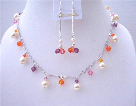 Primary image for Multicolor Swarovski Crystals Ivory Pearls Wedding Party Jewelry Gift
