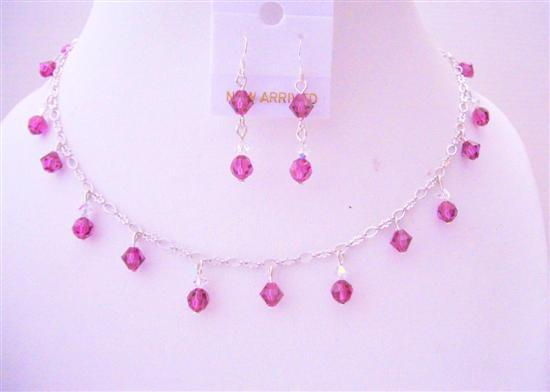 Primary image for Fuchsia Swarovski Crystals Handmade Bridal w/ AB Crystals Jewelry Set