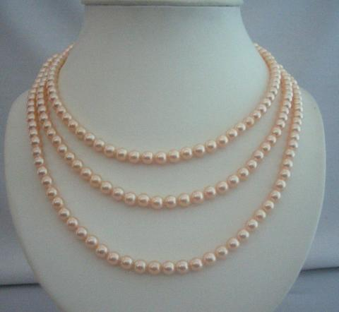 Primary image for 3 Stranded Swarovski Peach Pearls Bridal Mother of Bride Jewelry