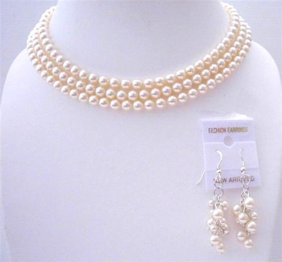 Ivory Pearls 3 Stranded Necklace Swarovski Pearls Wedding Jewelry Set