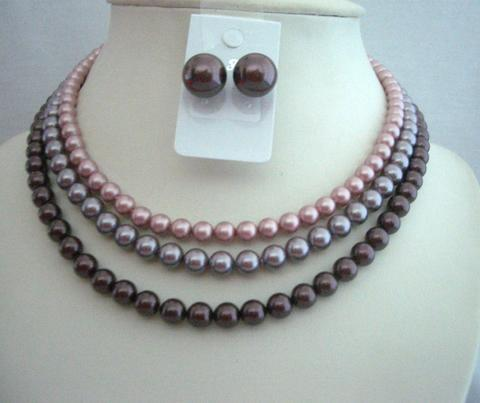 Three STRANDS NECKLACE Swarovski Pearls Tri-Colors Handcrafted Set