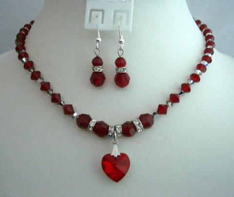 Primary image for Bridal Gifts Favors Siam Red Crystals Handcrafted Custom Heart Jewelry
