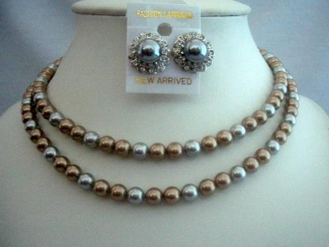Double Stranded Pearls Necklace For Moms Brides Bridesmaid Jewelry Set