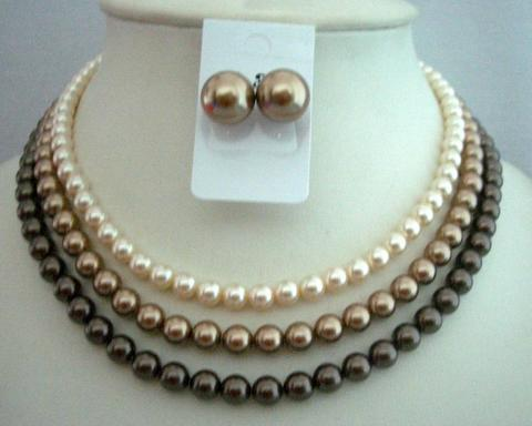 Handcrafted Wedding Three Strands Necklace Swarovski Pearls Tri-Colors