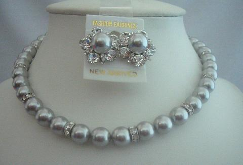 Bridal Jewelry for Mother Of Bride Jewelry Grey Pearls Silver Rondells