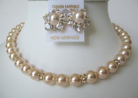 Primary image for Pearls Swarovski Peach Bridal Mother Jewelry Bridesmaid Gold Rondells