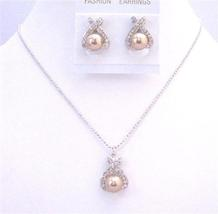 Bronze Pearl Pendant Stud Earrings Rhinestones Handmade Bride Jewelry - $21.18