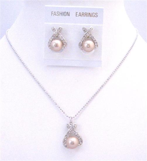 Primary image for Prom Jewelry Set Champagne Pearls Pendant 10mm Swarovski Necklace Set