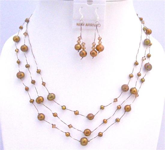 Primary image for Metallic Brown Freshwater Pearls Smoked Topaz Three Stranded Jewelry
