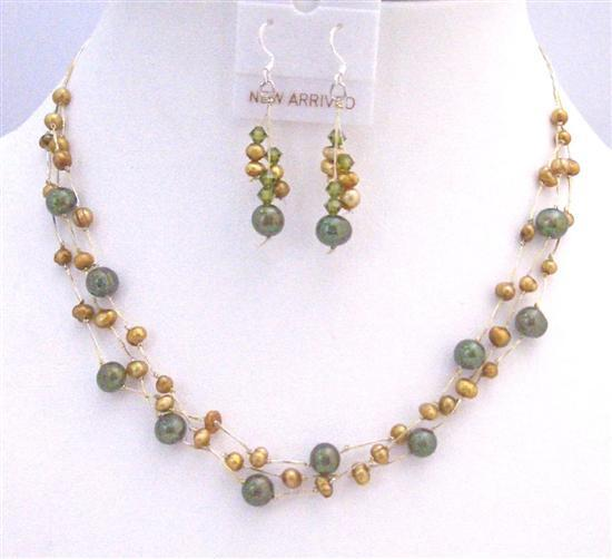 Golden Freshwater Pearls Green Pearls Three Stranded Necklace Jewelry