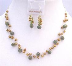 Golden Freshwater Pearls Green Pearls Three Stranded Necklace Jewelry - $23.78