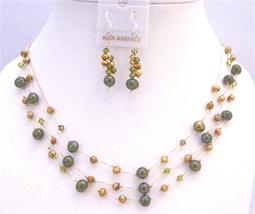 Swarovski Khakhi Crystals Freshwater Pearls Necklace Golden Dark Green - $26.38
