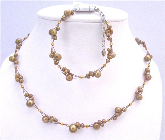 Primary image for Interwoven Metallic Brown Freshwater Pearls Necklace & Bracelet Set