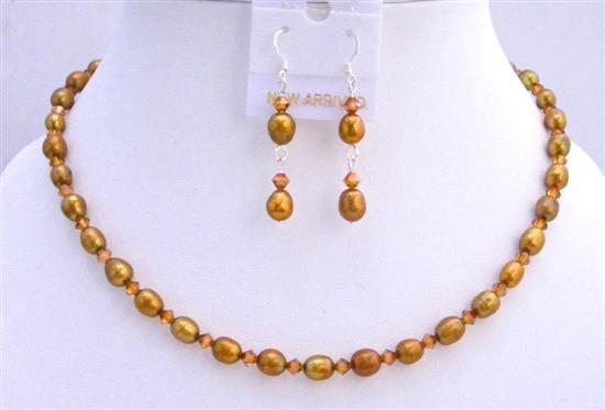 Copper Freshwater Rice Shaped Pearls Shaped Swarovski Crystal Necklace