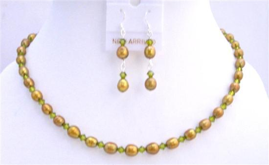 Dyed FreshWater Pearls Olive Green Swarovski Crystals Handmade Jewelry