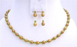 Dyed FreshWater Pearls Olive Green Swarovski Crystals Handmade Jewelry - $27.68