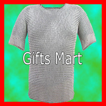 9mm Medieval M Steel, Butted Chainmail Shirt,Hauberk(L), Fancy Xmas Costume Gift - $146.99