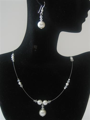 Bridesmaid Swarovski Clear Crystals White Pearls Handcrafted Jewelry