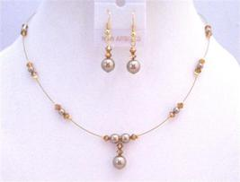 Golden Wire Swarovski Copper Crystals Bronze Pearls Necklace Jewelry - $27.68