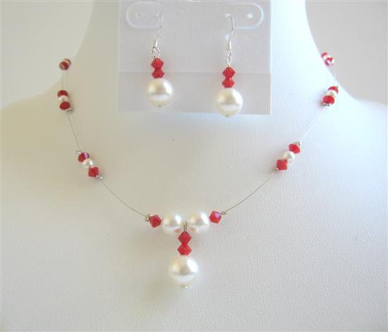 Swarovski Coral Color Crystals w/ White Pearls Bridesmaid Jewelry Set