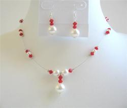 Swarovski Coral Color Crystals w/ White Pearls Bridesmaid Jewelry Set - $25.73