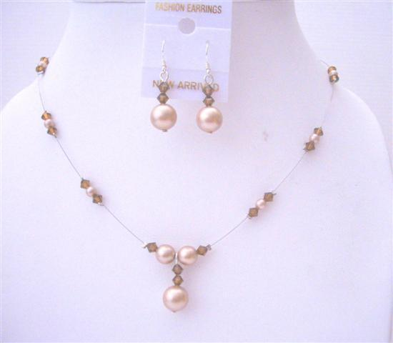 Primary image for Champagne Pearls Smoked Topaz Pearls & Crystals Swarovski Necklace Set