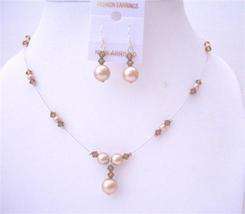Champagne Pearls Smoked Topaz Pearls & Crystals Swarovski Necklace Set - $21.83