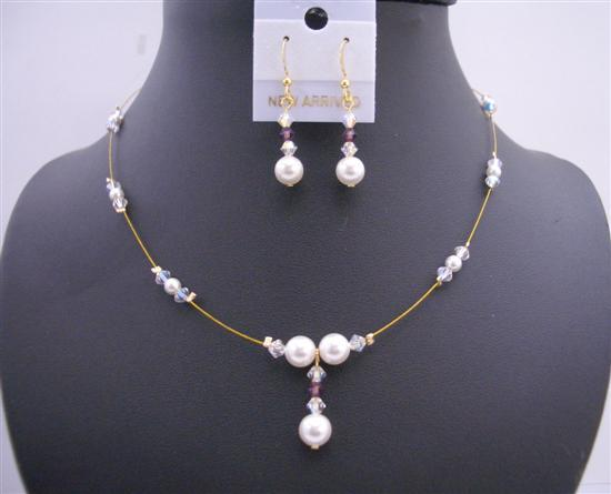 Primary image for Gold Wire w/ White Pearls & AB Swarovski Crystals Handcrafted Jewelry
