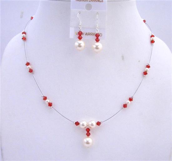 Primary image for Cream Pearls Lite Siam Red Crystals Swarovski Handcrafted Jewelry Set