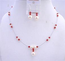 Cream Pearls Lite Siam Red Crystals Swarovski Handcrafted Jewelry Set - $28.33