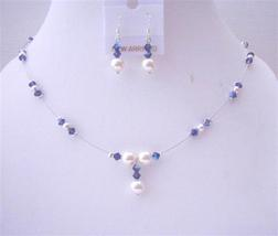 Swarovski Purple Violet AB Crystals with White Pearls Bridal Jewelry S - $28.33