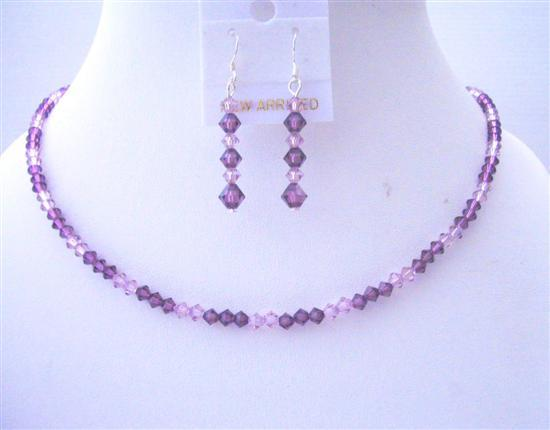 Handcrafted Custom Swarovski Amethyst Light & Dark Crystals Jewelry