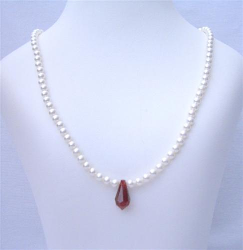 Flower Girl White Pearls Jewelry Siam Red Crystals Teardrop Necklace