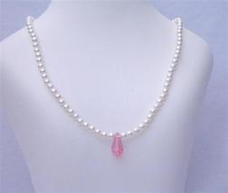 Pink Crystals Teardrop Flower Girl White Pearls Jewelry Necklace - $22.48