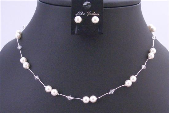 White Swarovski Pearls with Clear Crystals In Silk Thread Jewelry Set