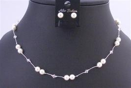 White Swarovski Pearls with Clear Crystals In Silk Thread Jewelry Set - $23.78