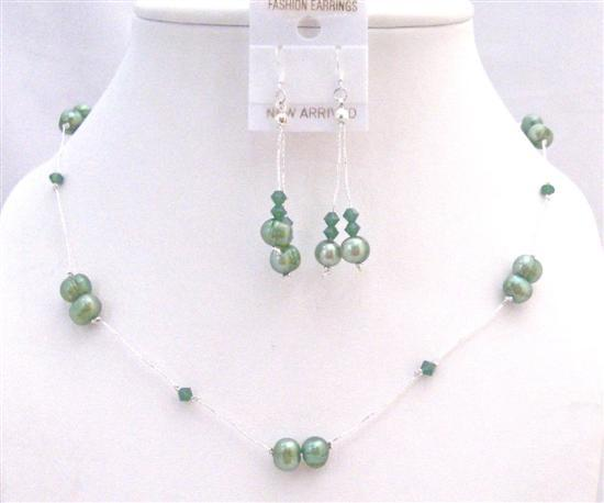 Clover Swarovski Crystals with Green FreshWater Pearl Prom Jewelry Set