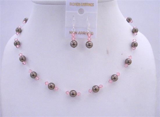 Primary image for Chocolate Brown Pearls Pink Crystals Wedding Handcrafted Jewelry Set