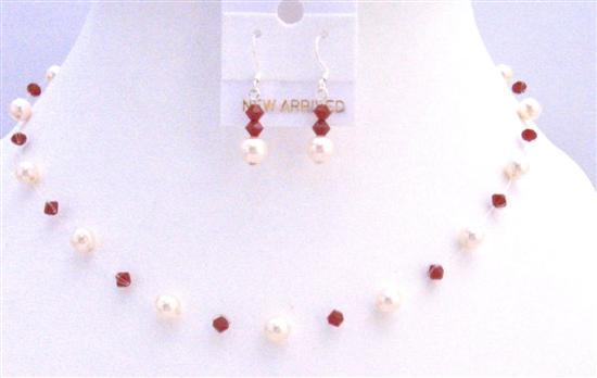 Coral Swarovski Crystals Ivory Pearls Jewelry Set Invisible Necklace