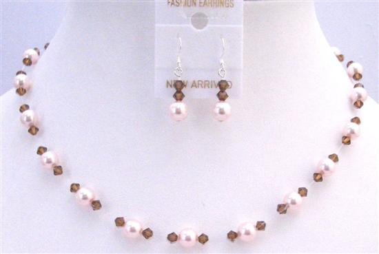 Rose Pearls & Smoked Topaz Crystals Accented Invisible Necklace Set