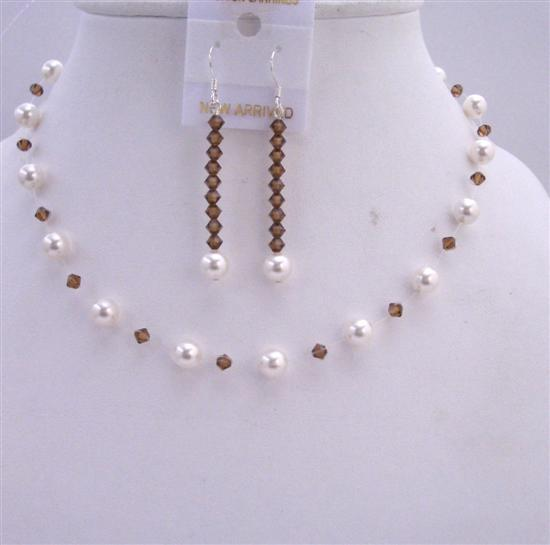Smoked Topaz Crystals White Pearls Wedding Jewelry Handmade Necklace