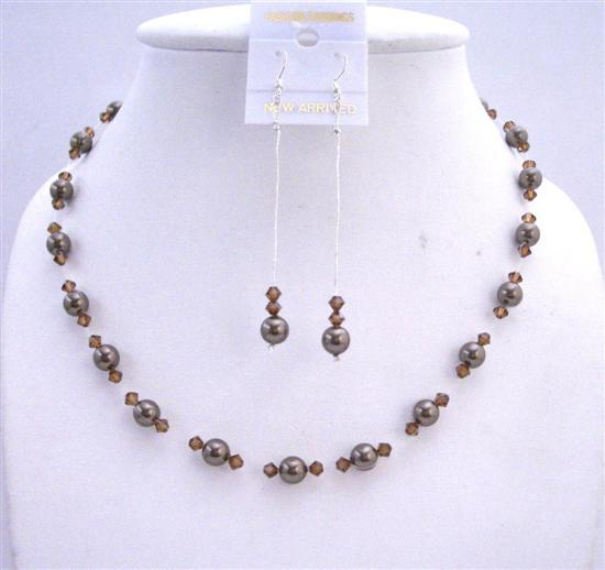 Dark Chocolate Brown Pearls & Smoked Topaz Crystals Wedding Jewelry Se