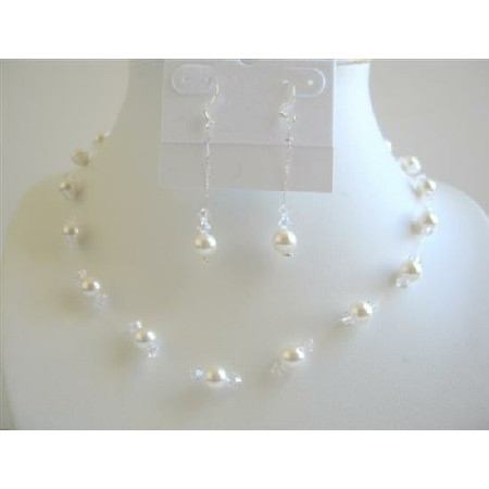 Primary image for White Pearls & Clear Crystals Bridal Bridesmaid Wedding Jewelry Set