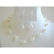 White Pearls & Clear Crystals Bridal Bridesmaid Wedding Jewelry Set - $26.38